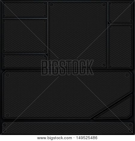 scifi wall. metal wall and black carbon mesh. metal background and texture 3d illustration. technology concept.