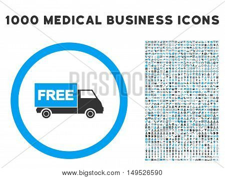 Free Shipment icon with 1000 medical business gray and blue glyph design elements. Set style is flat bicolor symbols white background.