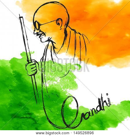 illustration of India background for 2nd October Gandhi Jayanti