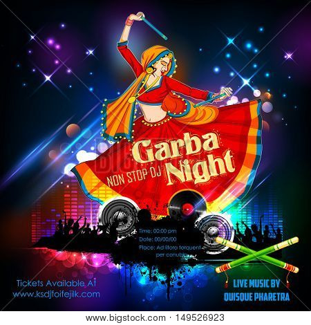 illustration of woman playing Dandiya in disco Garba Night poster for Navratri Dussehra festival of India