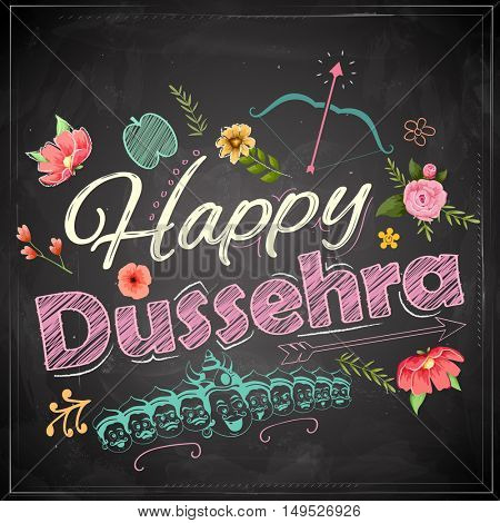 llustration of Floral greeting for Happy Dussehra Navratri festival of India on chalkboard