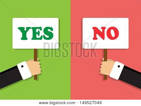 hands hold signs expressing agreement and disagreement
