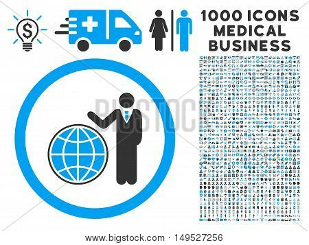 Global Manager icon with 1000 medical business gray and blue glyph design elements. Design style is flat bicolor symbols white background.
