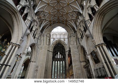 Interior of York Minster a landmark cathedral in York England. poster