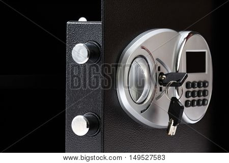 Opened Black Metal Safe Box With Numeric Keypad Locked System, Close-up