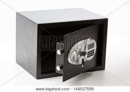 Opened Black Metal Safe Box With Numeric Keypad Locked System And Keys