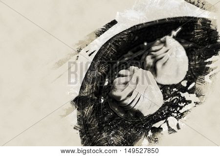 Traditional chinese food, steamed dumpling served on table in a wooden dish and with wooden chopsticks. Vintage painting, background illustration, beautiful picture, travel texture poster