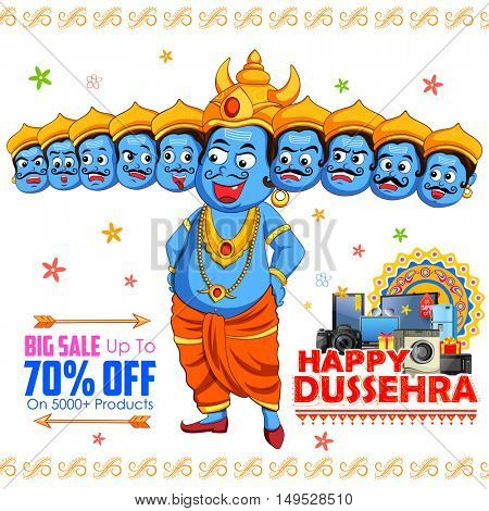 illustration of ten headed Ravana for Happy Dussehra sale promotion