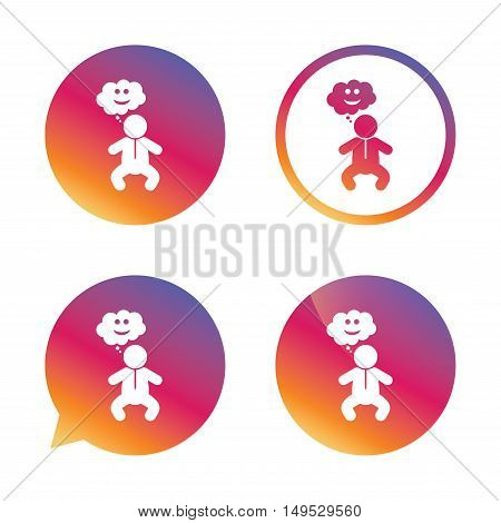 Baby infant happy think sign icon. Toddler boy in pajamas or crawlers body symbol. Gradient buttons with flat icon. Speech bubble sign. Vector