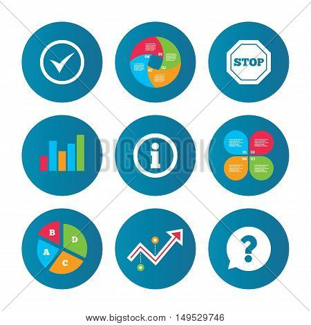 Business pie chart. Growth curve. Presentation buttons. Information icons. Stop prohibition and question FAQ mark speech bubble signs. Approved check mark symbol. Data analysis. Vector