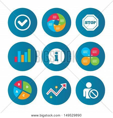 Business pie chart. Growth curve. Presentation buttons. Information icons. Stop prohibition and user blacklist signs. Approved check mark symbol. Data analysis. Vector