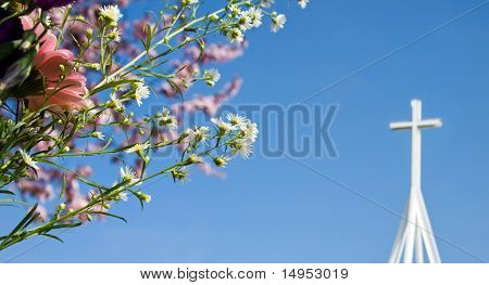 Easter Resurrection - Spring Blossom And Cross
