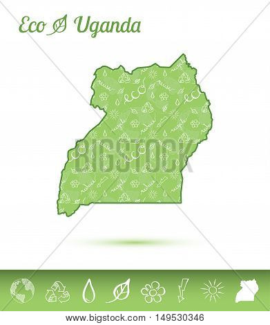 Uganda Eco Map Filled With Green Pattern. Green Counrty Map With Ecology Concept Design Elements. Ve