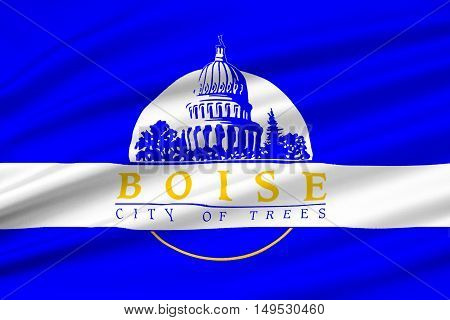 Flag of Boise is the capital city of Idaho state United States. 3D illustration