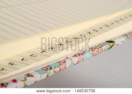 Closeup Of Address Book Tab Index