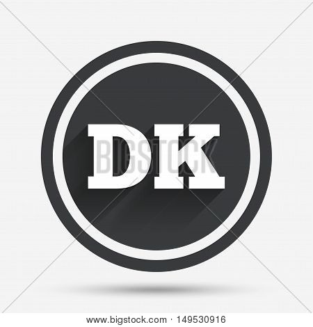 Denmark language sign icon. DK translation symbol. Circle flat button with shadow and border. Vector