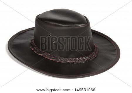 Black Brimmed Leather Hat