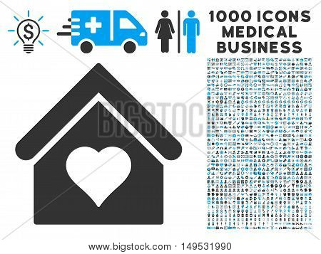 Love House icon with 1000 medical commercial gray and blue glyph pictographs. Clipart style is flat bicolor symbols white background.