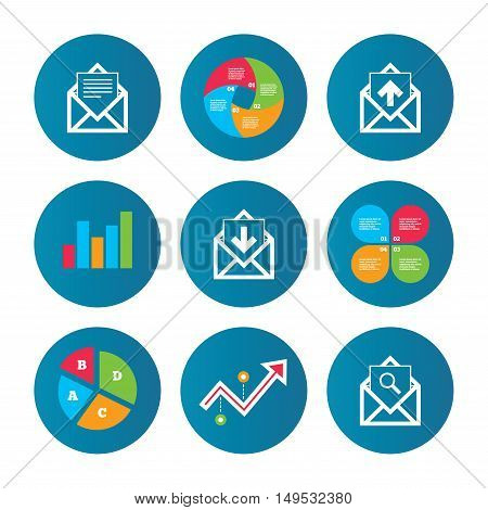 Business pie chart. Growth curve. Presentation buttons. Mail envelope icons. Find message document symbol. Post office letter signs. Inbox and outbox message icons. Data analysis. Vector