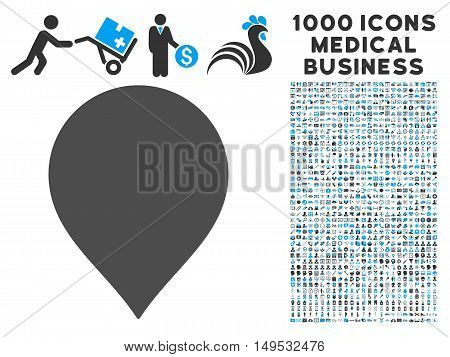 Map Marker icon with 1000 medical commercial gray and blue glyph pictographs. Set style is flat bicolor symbols white background.