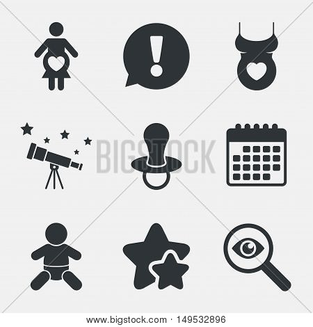 Maternity icons. Baby infant, pregnancy and dummy signs. Child pacifier symbols. Shirt with heart. Attention, investigate and stars icons. Telescope and calendar signs. Vector
