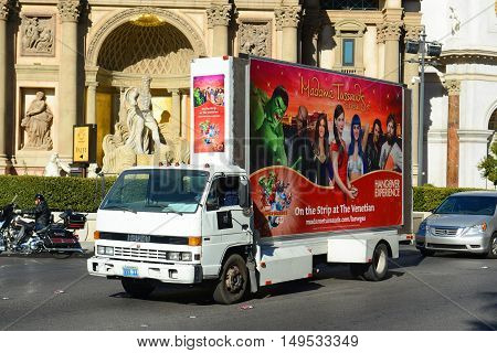 LAS VEGAS - DEC 24: Advertising Truck on Las Vegas Strip on Dec 24, 2015 in Las Vegas, Nevada, USA.