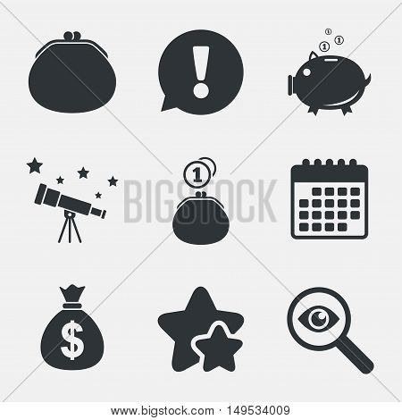 Wallet with cash coin and piggy bank moneybox symbols. Dollar USD currency sign. Attention, investigate and stars icons. Telescope and calendar signs. Vector