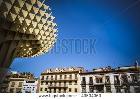 Wooden Metropol Parasol with Seville buildings and sky