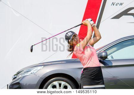 CHONBURI - FEBRUARY 28 : Bo-Mee Lee of South Korea in Honda LPGA Thailand 2016 at Siam Country Club Pattaya Old Course on February 28 2016 in Chonburi Thailand.