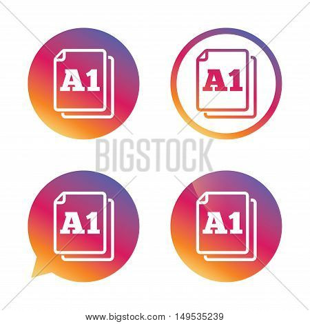 Paper size A1 standard icon. File document symbol. Gradient buttons with flat icon. Speech bubble sign. Vector