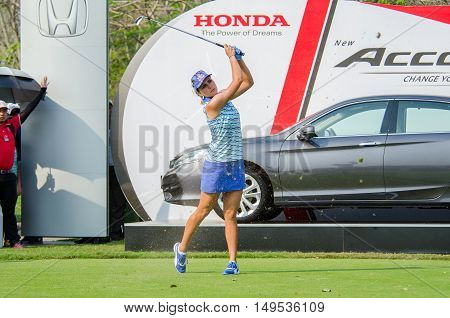 CHONBURI - FEBRUARY 28 : Lexi Thompson of USA champion of Honda LPGA Thailand 2016 at Siam Country Club Pattaya Old Course on February 28 2016 in Chonburi Thailand.