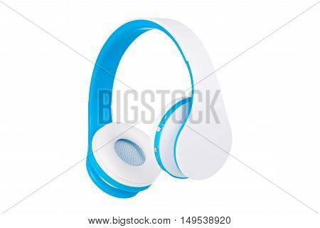 Blue wireless headphones front view isolated on white background