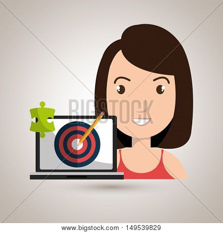 woman laptop creative innovation vector illustration eps 10