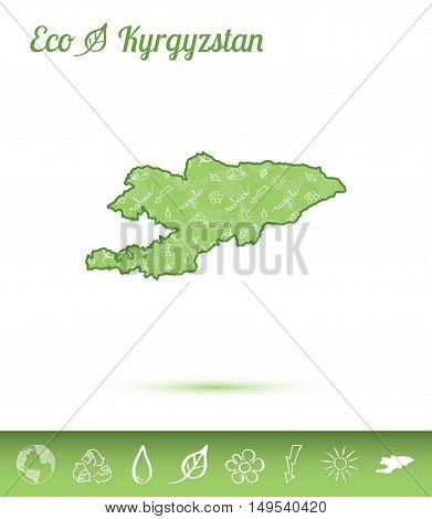 Kyrgyzstan Eco Map Filled With Green Pattern. Green Counrty Map With Ecology Concept Design Elements