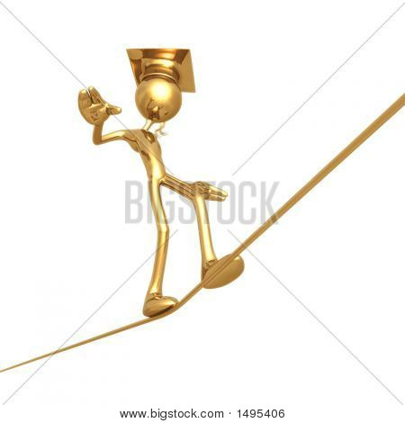 Golden Grad Tight Rope Walking Graduation Concept