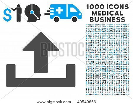 Upload icon with 1000 medical business gray and blue glyph pictographs. Clipart style is flat bicolor symbols, white background.