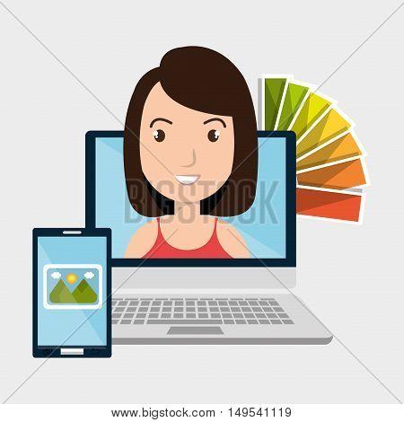 laptop woman chart color images vector illustration eps 10