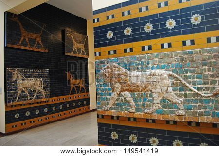Istanbul, Turkey - May 6, 2011. Glazed panels depicting animals from the processional street and Ishtar gate of ancient Babylon at the Istanbul Archaeology Museum.
