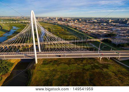 Margaret Hunt Hill Bridge in Morning Sunshine spanning across Trinity Overlook Park of Dallas Texas