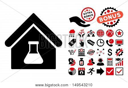 Chemical Labs Building pictograph with bonus symbols. Glyph illustration style is flat iconic bicolor symbols, intensive red and black colors, white background.