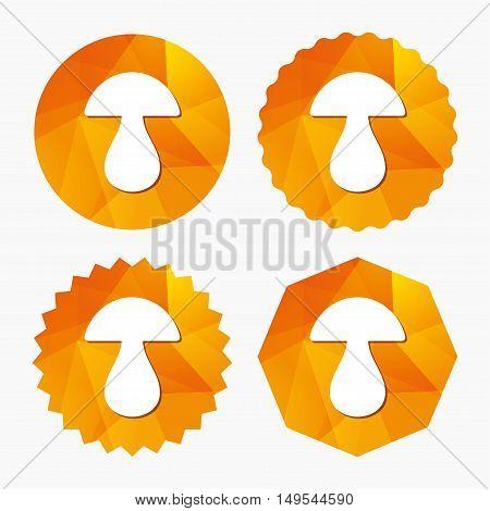 Mushroom sign icon. Boletus mushroom symbol. Triangular low poly buttons with flat icon. Vector