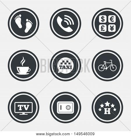 Hotel, apartment services icons. Coffee sign. Phone call, kid-friendly and safe strongbox symbols. Circle flat buttons with icons and border. Vector