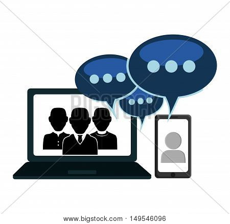 Social network computer cellphone people message chat global