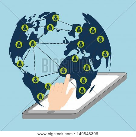 Social network cellphone world message global icon