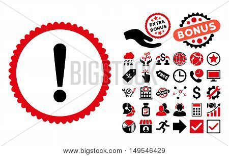 Exclamation Sign icon with bonus symbols. Glyph illustration style is flat iconic bicolor symbols, intensive red and black colors, white background.