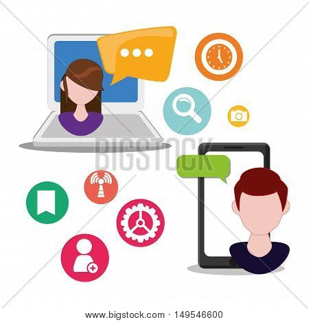 Social network people converdsation icon information global