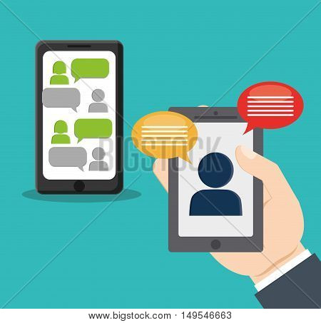 Social network cellphone hand chat message information