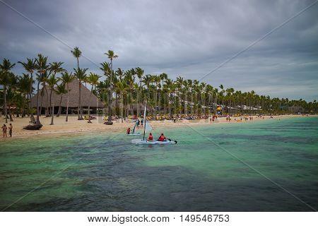 Bavaro beach in Punta Cana Dominican Republic. Turquoise caribbean sea.