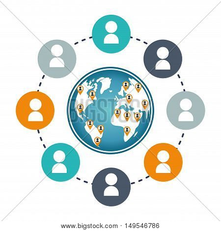 Social network icon world around person global