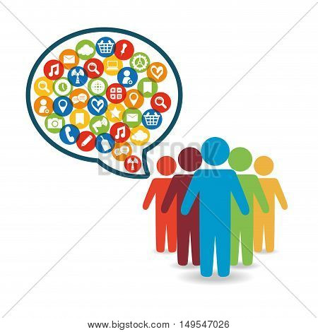 Social network people message world customer icon
